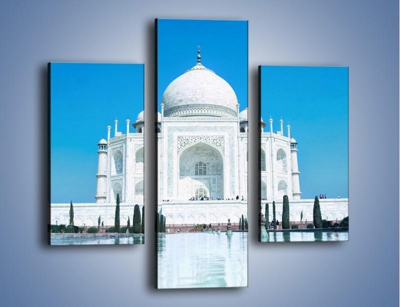 Obraz na płótnie – Taj Mahal pod błękitnym niebem – trzyczęściowy AM077W3