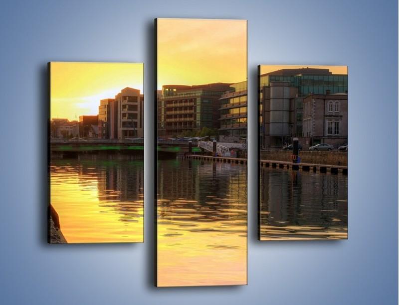 Obraz na płótnie – Kanał portowy o wschodzie słońca – trzyczęściowy AM079W3