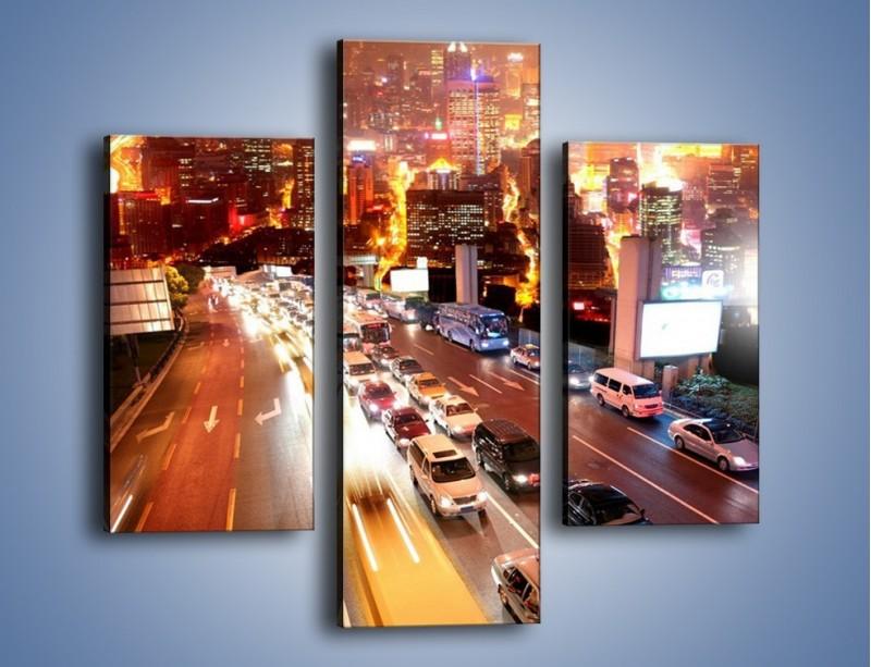Obraz na płótnie – Wyjazd z zatłoczonego miasta – trzyczęściowy AM080W3