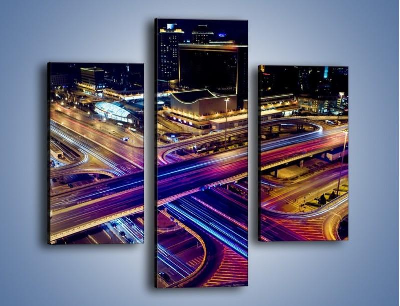 Obraz na płótnie – Skrzyżowanie autostrad nocą w ruchu – trzyczęściowy AM087W3