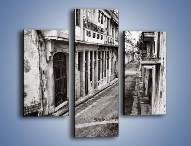 Obraz na płótnie – Urokliwa uliczka w starej części miasta – trzyczęściowy AM124W3