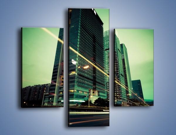 Obraz na płótnie – Wieżowce w zielonym odcieniu – trzyczęściowy AM129W3