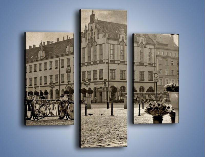 Obraz na płótnie – Rynek Starego Miasta w stylu vintage – trzyczęściowy AM138W3
