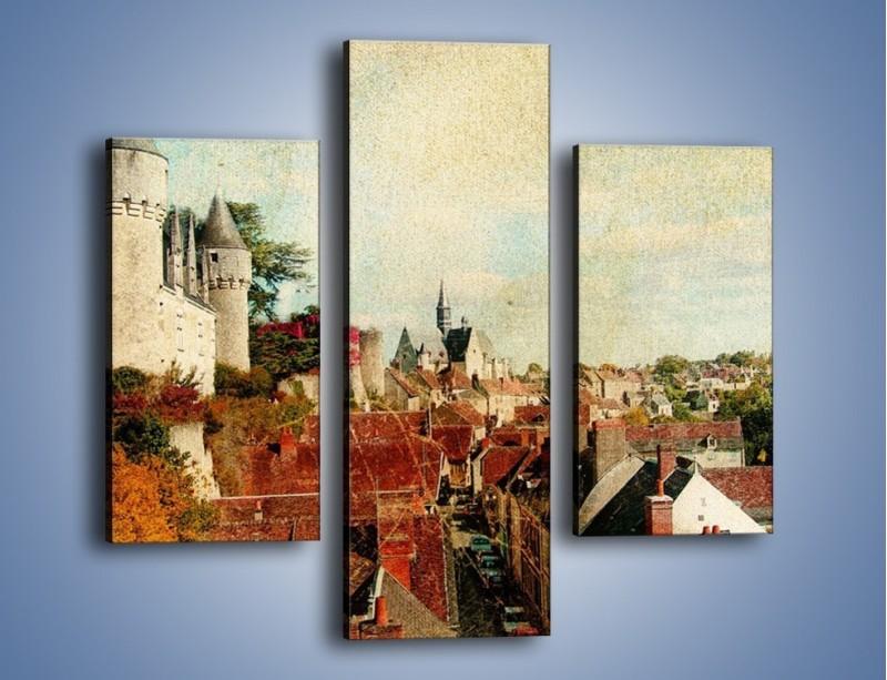 Obraz na płótnie – Zamek nad miasteczkiem w stylu vintage – trzyczęściowy AM142W3