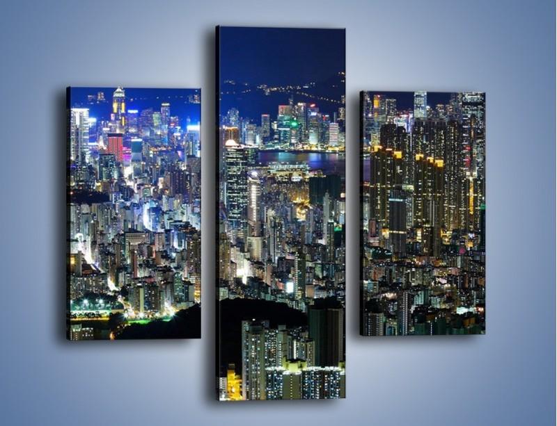 Obraz na płótnie – Nocne światła w dużym mieście – trzyczęściowy AM144W3