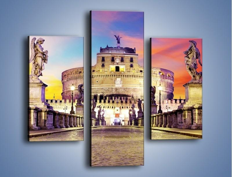 Obraz na płótnie – Zamek św. Anioła na tle kolorowego nieba – trzyczęściowy AM156W3