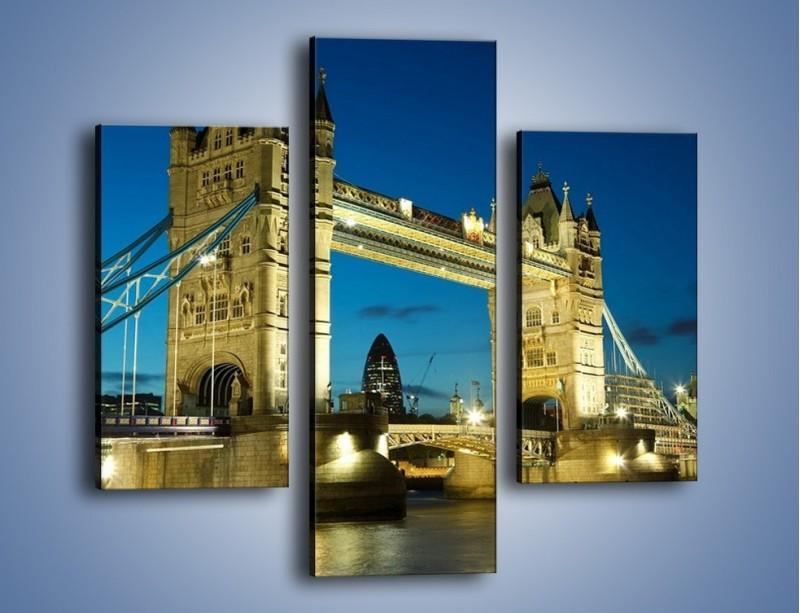 Obraz na płótnie – Tower Bridge wieczorową porą – trzyczęściowy AM159W3