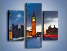Obraz na płótnie – Big Ben świetle lamp – trzyczęściowy AM166W3