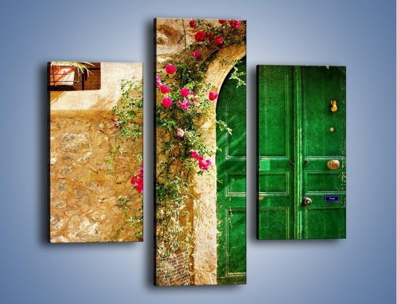 Obraz na płótnie – Drzwi w greckim domu vintage – trzyczęściowy AM192W3