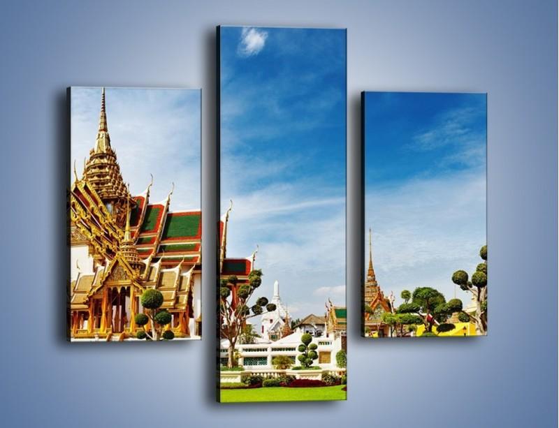 Obraz na płótnie – Tajska architektura pod błękitnym niebem – trzyczęściowy AM197W3