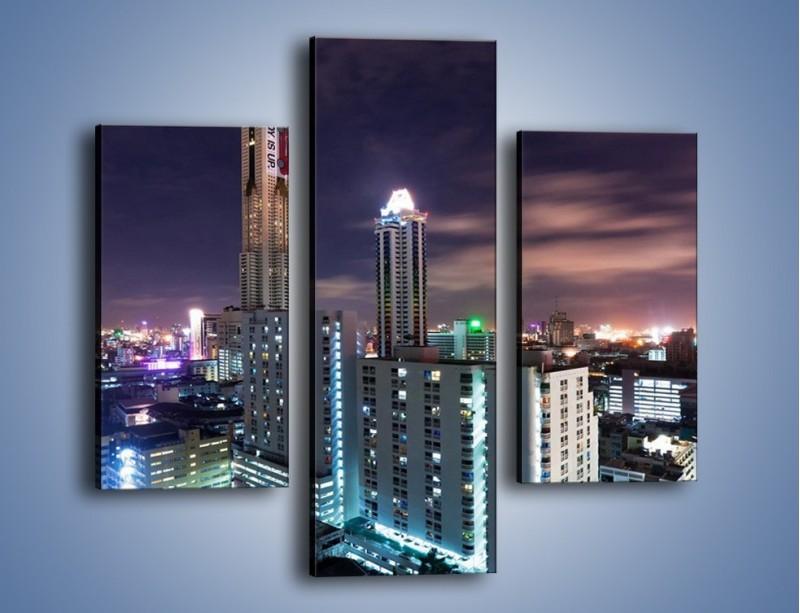 Obraz na płótnie – Duże miasto nocą – trzyczęściowy AM202W3