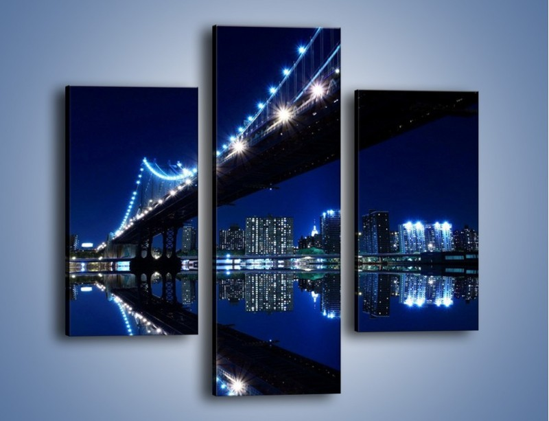 Obraz na płótnie – Oświetlony most w odbiciu wody – trzyczęściowy AM211W3