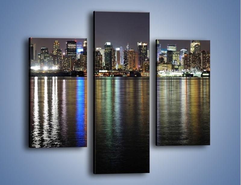 Obraz na płótnie – Światła miasta w lustrzanym odbiciu wody – trzyczęściowy AM222W3