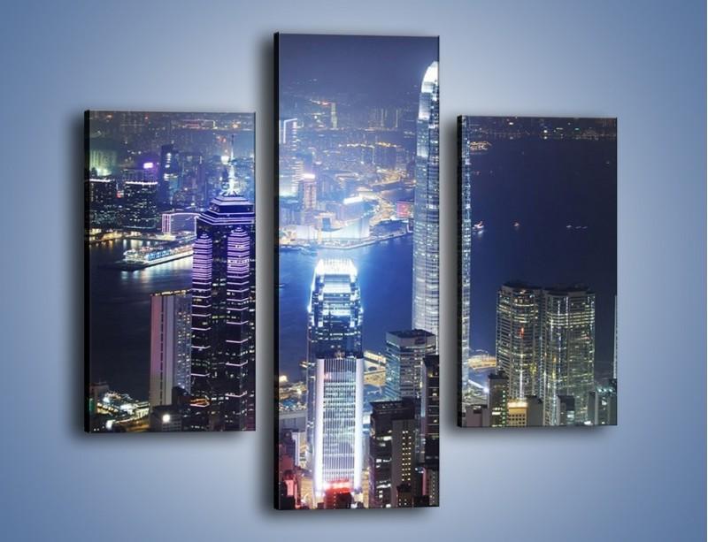 Obraz na płótnie – Miasto oświetlone nocą – trzyczęściowy AM223W3