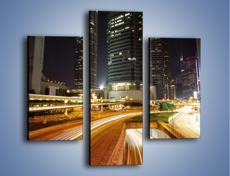 Obraz na płótnie – Miasto w nocnym ruchu ulicznym – trzyczęściowy AM225W3