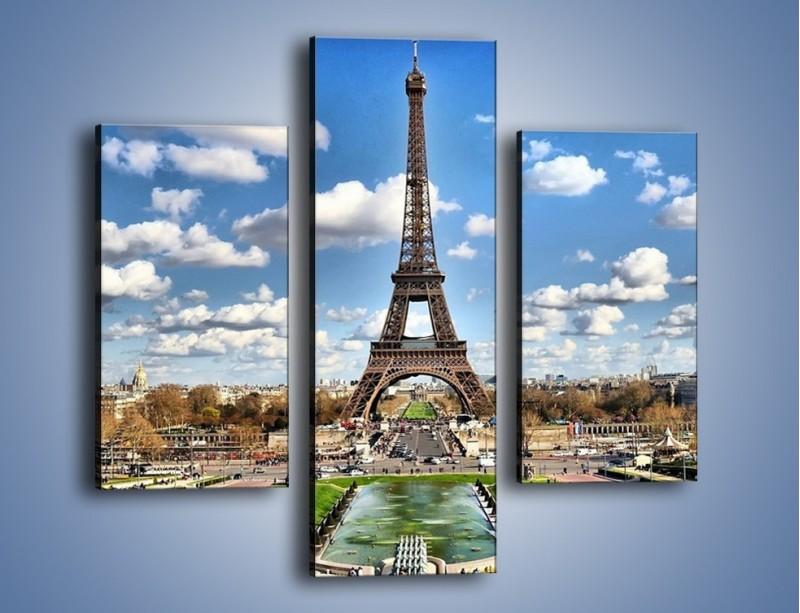Obraz na płótnie – Wieża Eiffla w pochmurny dzień – trzyczęściowy AM227W3