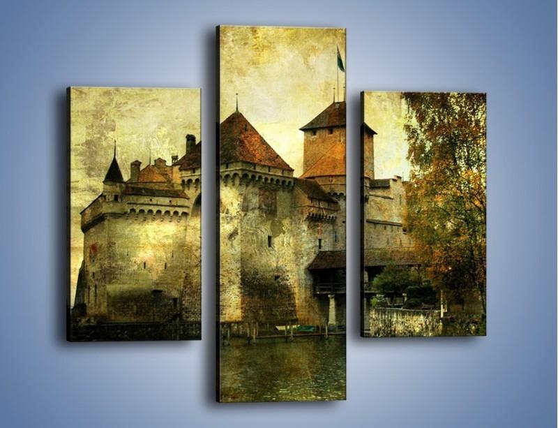 Obraz na płótnie – Średniowieczny zamek w stylu vintage – trzyczęściowy AM233W3