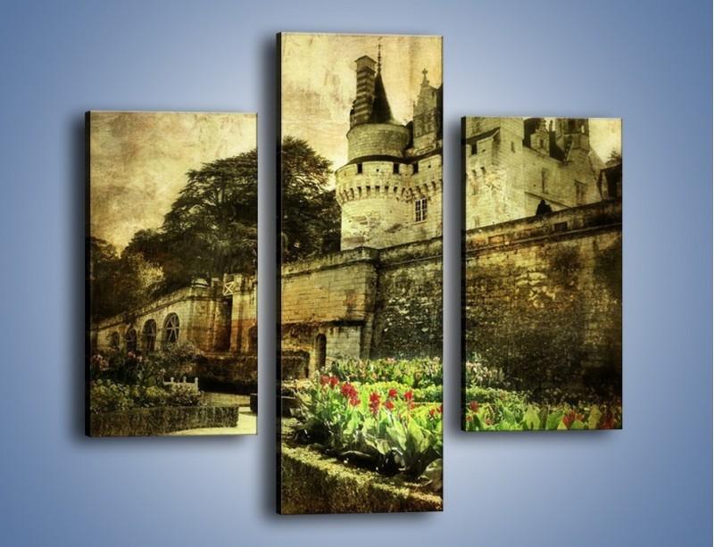 Obraz na płótnie – Zamek w stylu vintage – trzyczęściowy AM234W3