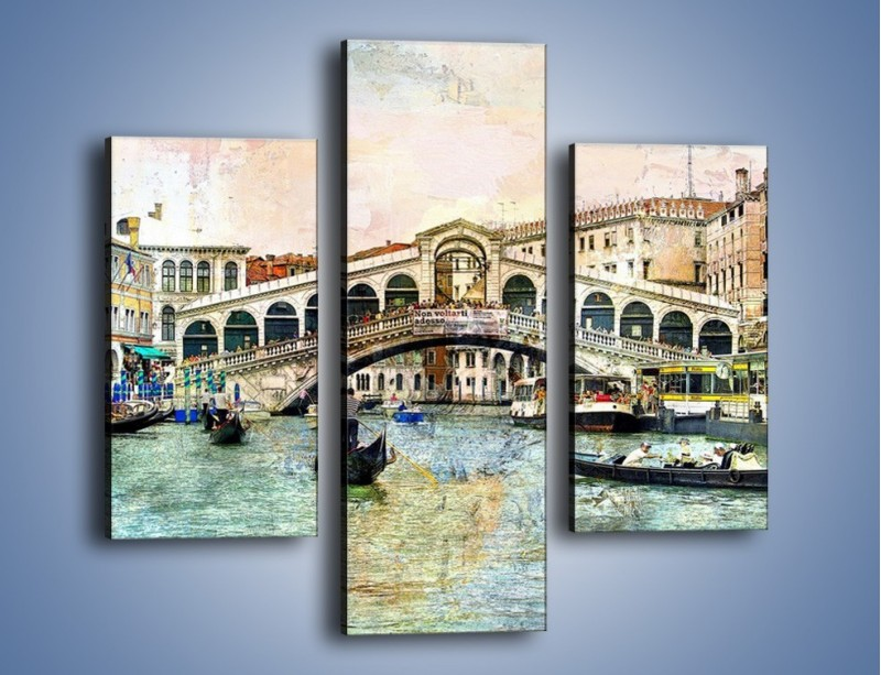 Obraz na płótnie – Wenecja w stylu vintage – trzyczęściowy AM239W3