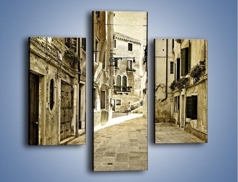 Obraz na płótnie – Stara uliczka w stylu vintage – trzyczęściowy AM243W3