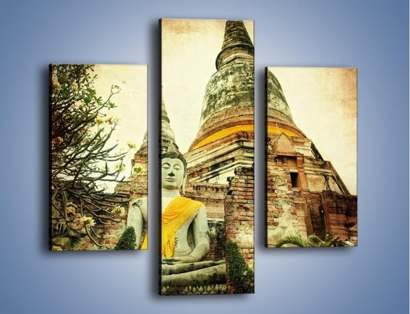 Obraz na płótnie – Tybetańska architektura w stylu vintage – trzyczęściowy AM247W3