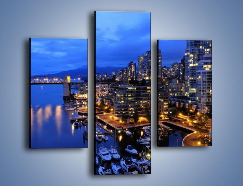 Obraz na płótnie – Port na jachty w mieście nocą – trzyczęściowy AM250W3