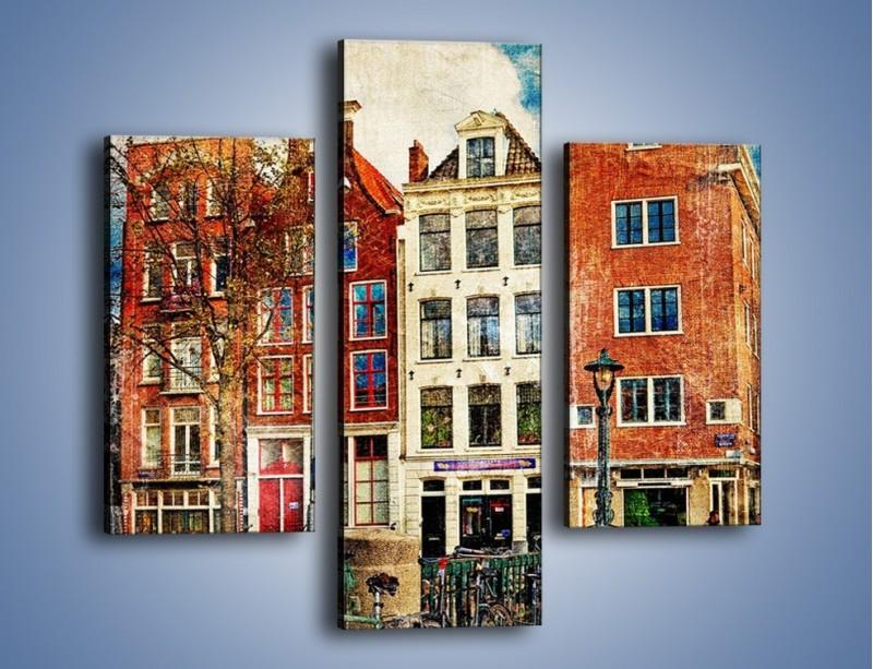 Obraz na płótnie – Amsterdam w stylu vintage – trzyczęściowy AM258W3