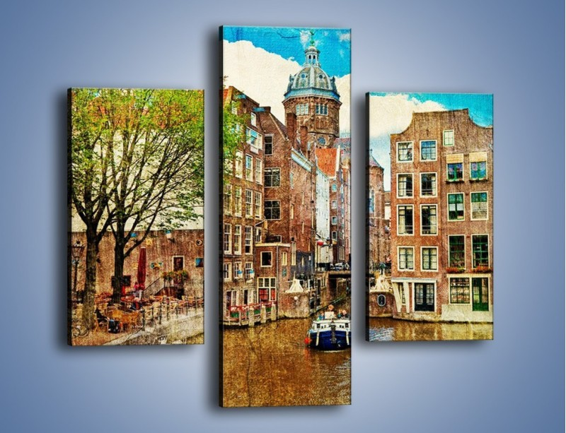 Obraz na płótnie – Kanał w Amsterdamie vintage – trzyczęściowy AM259W3