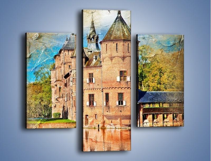 Obraz na płótnie – Zamek nad wodą w stylu vintage – trzyczęściowy AM262W3