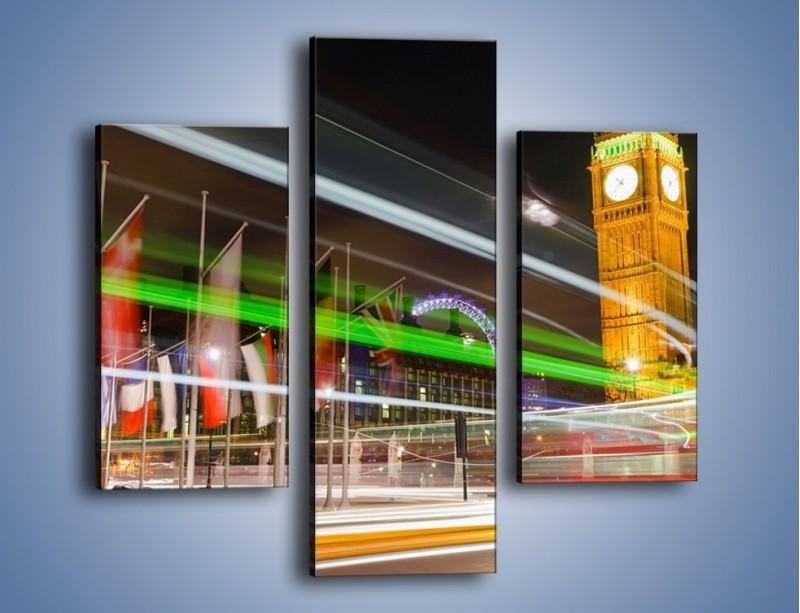 Obraz na płótnie – Światła samochodów na tle Big Bena – trzyczęściowy AM283W3