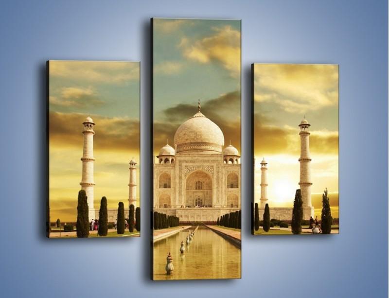 Obraz na płótnie – Tadź Mahal o zachodzie słońca – trzyczęściowy AM285W3