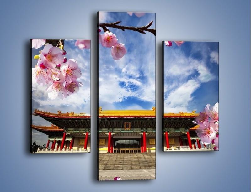 Obraz na płótnie – Azjatycka architektura z kwiatami – trzyczęściowy AM298W3