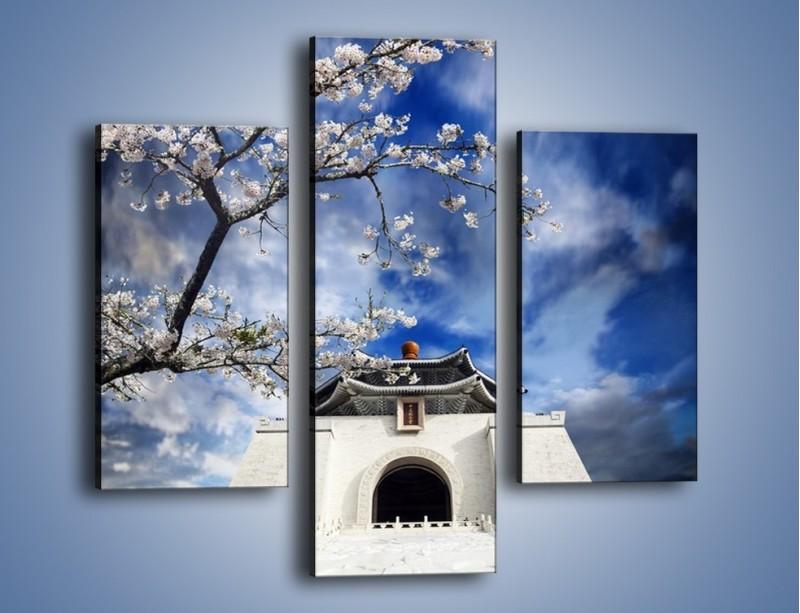 Obraz na płótnie – Azjatycka architektura z białymi kwiatami – trzyczęściowy AM300W3