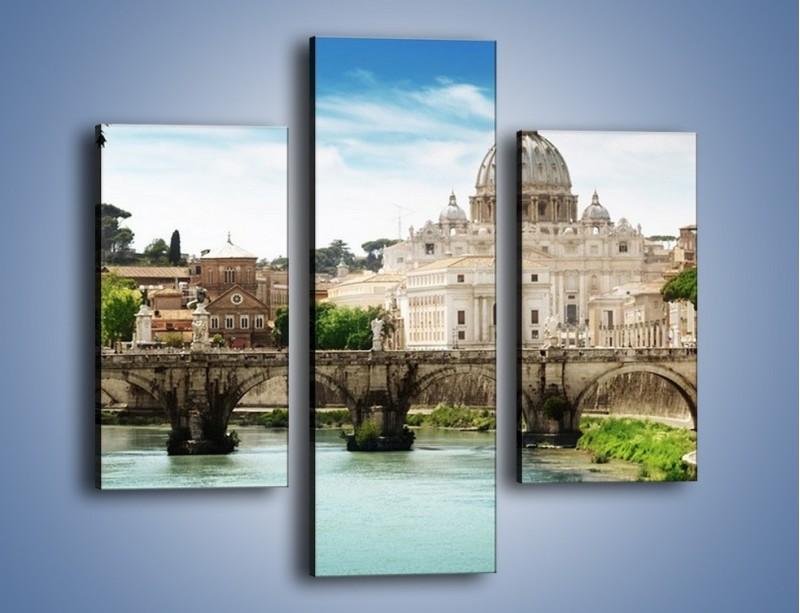 Obraz na płótnie – Rzeka Tyber na tle bazyliki – trzyczęściowy AM303W3