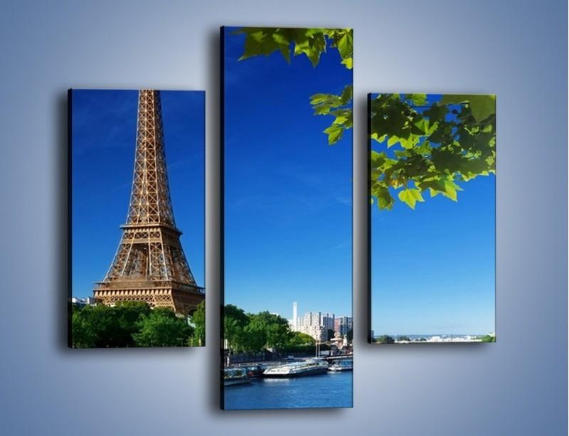 Obraz na płótnie – Wieża Eiffla w piękny dzień – trzyczęściowy AM304W3