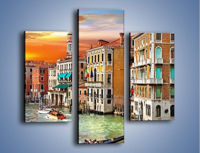 Obraz na płótnie – Kolory Wenecji o zachodzie słońca – trzyczęściowy AM307W3