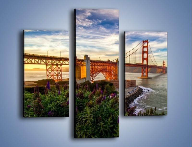 Obraz na płótnie – Most Golden Gate o zachodzie słońca – trzyczęściowy AM332W3
