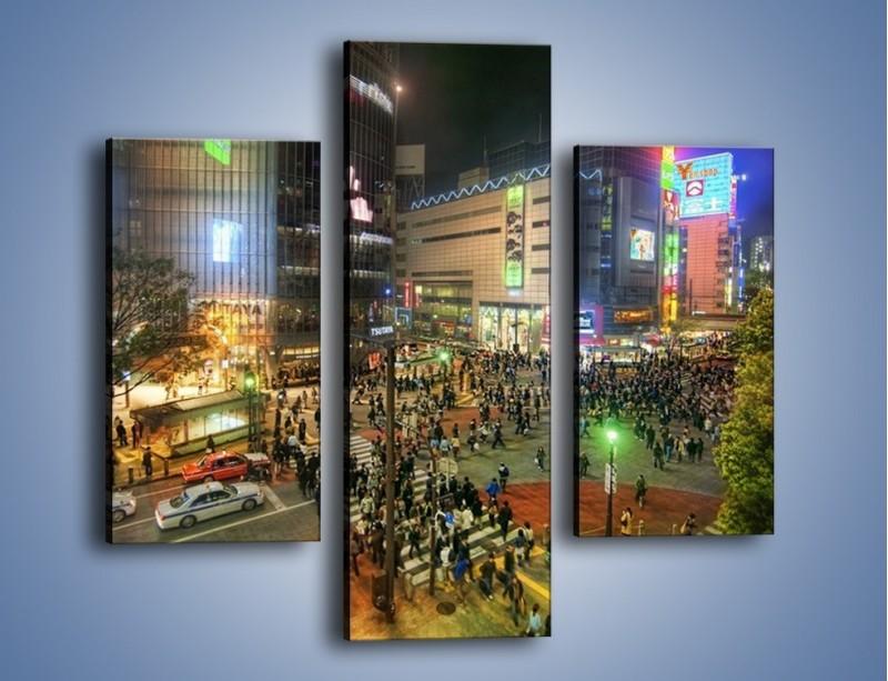 Obraz na płótnie – Zatłoczone ulice Toyko nocą – trzyczęściowy AM333W3