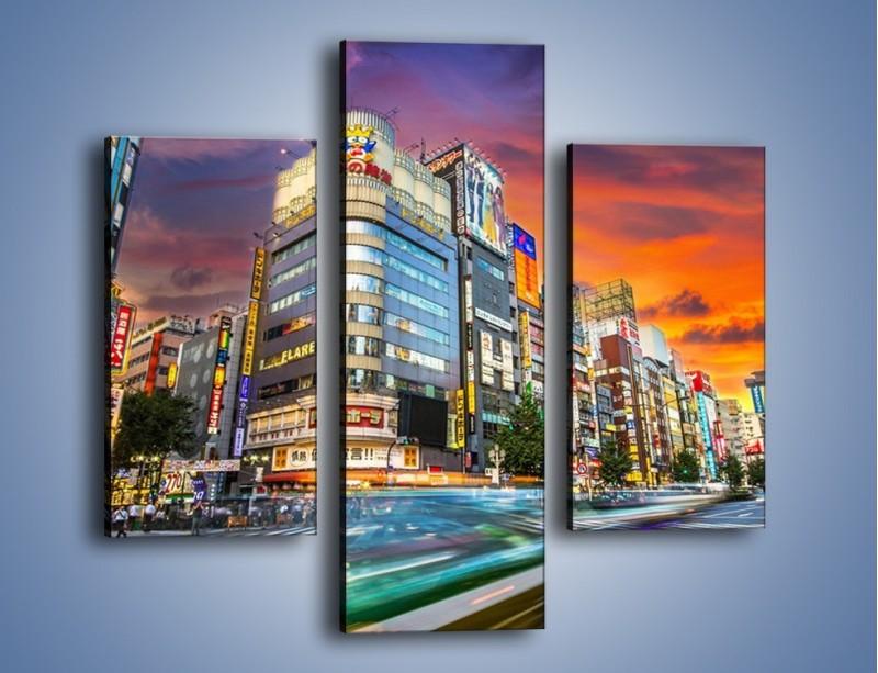 Obraz na płótnie – Tokyo na tle kolorowego nieba – trzyczęściowy AM336W3