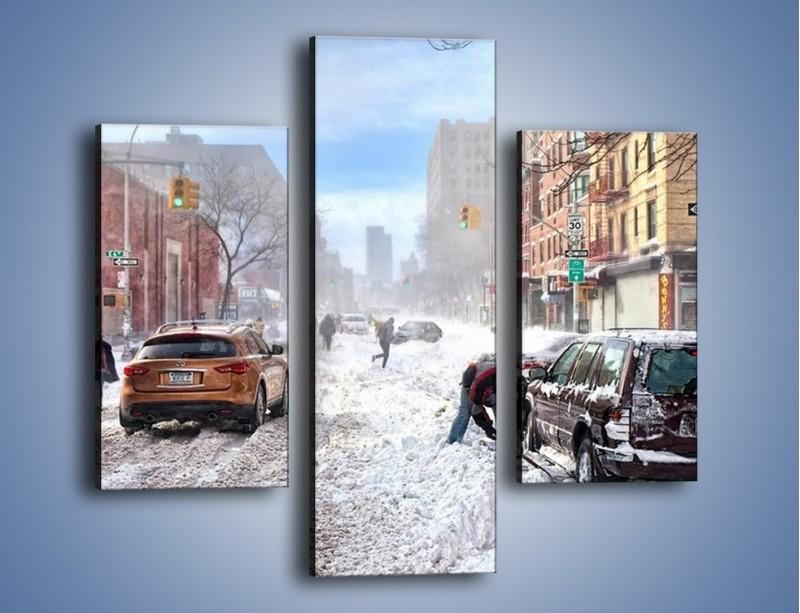 Obraz na płótnie – Zaśnieżone ulice miasta – trzyczęściowy AM342W3