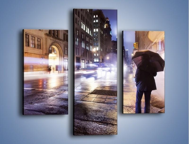 Obraz na płótnie – Deszczowa noc w Nowym Jorku – trzyczęściowy AM343W3