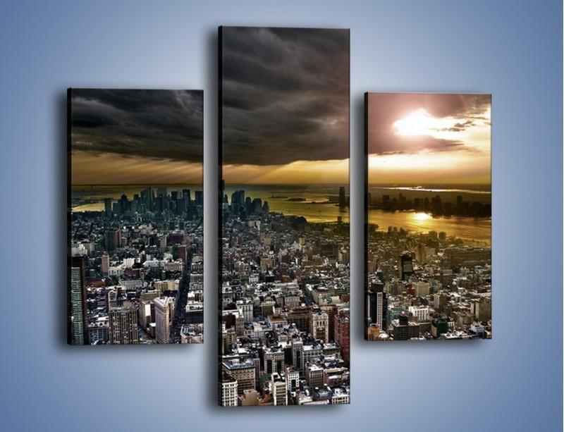 Obraz na płótnie – Czarne chmury nad Nowym Yorkiem – trzyczęściowy AM347W3
