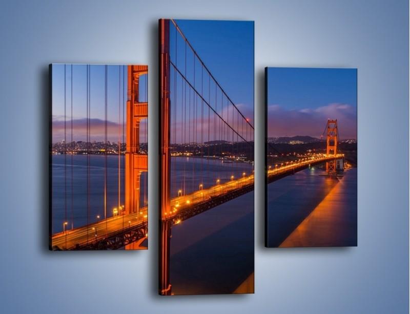 Obraz na płótnie – Rozświetlony most Golden Gate – trzyczęściowy AM360W3