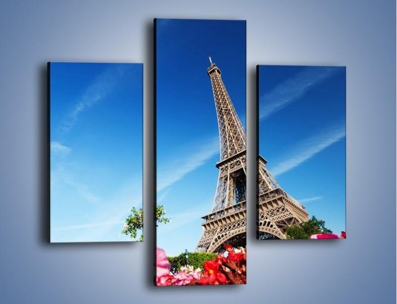 Obraz na płótnie – Wieża Eiffla pod błękitnym niebem – trzyczęściowy AM379W3
