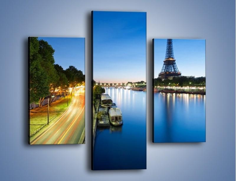 Obraz na płótnie – Zapadający zmrok w Paryżu – trzyczęściowy AM385W3