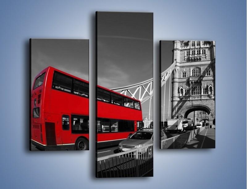 Obraz na płótnie – Tower Bridge i czerwony autobus – trzyczęściowy AM394W3