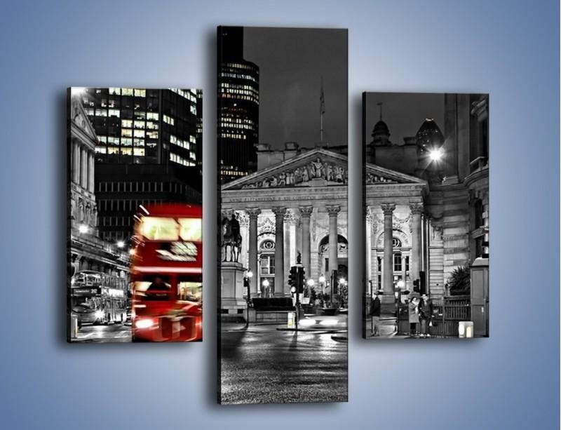 Obraz na płótnie – Czerwony autobus w Londynie – trzyczęściowy AM395W3