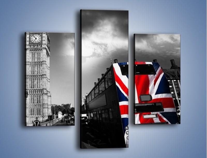 Obraz na płótnie – Big Ben i autobus z flagą UK – trzyczęściowy AM396W3