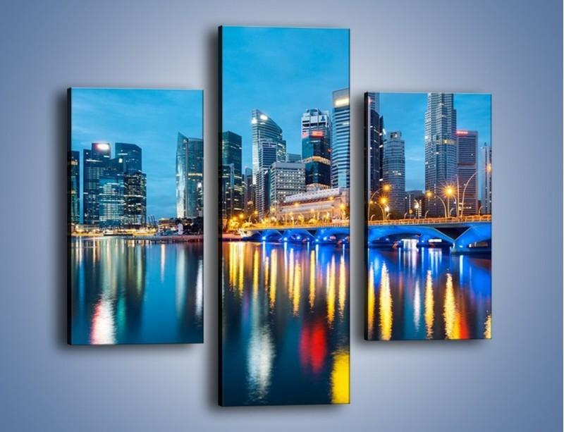 Obraz na płótnie – Kolorowe światła Singapuru – trzyczęściowy AM408W3