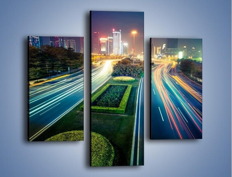 Obraz na płótnie – Uliczne światła Szanghaju – trzyczęściowy AM409W3